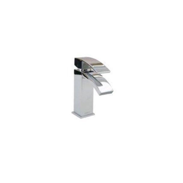 Håndvaskarmatur firkantet med push pop up bundventil, krom.