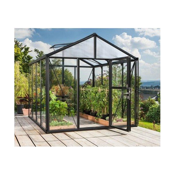 Zeus 2 11900 sort drivhus m hærdet glas