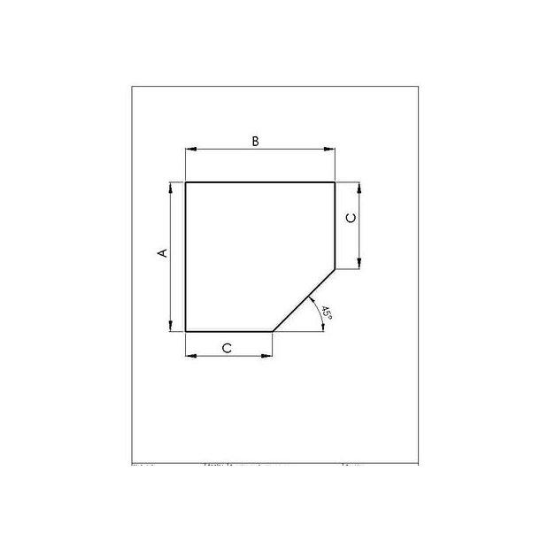 Stålplade 2mm Femkant A:1000 x B:1000 (C:586 Dia:1120)