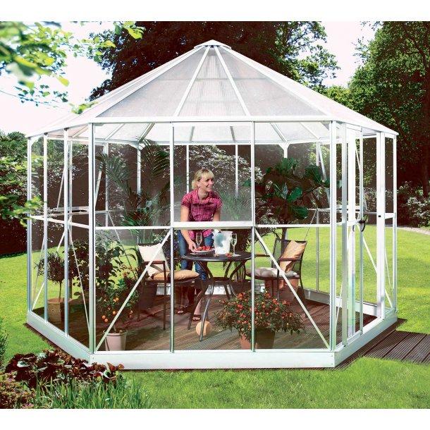 Hera 9000 9,0m2 sekskantede drivhus med hvide aluprofiler og glas