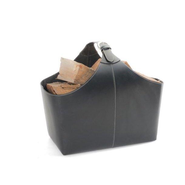 Brændeholder læder med spænde - 1 stk. Mål ca. H:47cm L:30 B:30