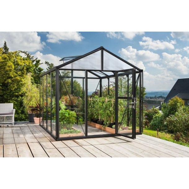 Zeus 2 8100 sort drivhus m hærdet glas